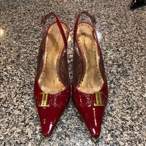 BCBGIRLS Red Patent Leather Belt Heels